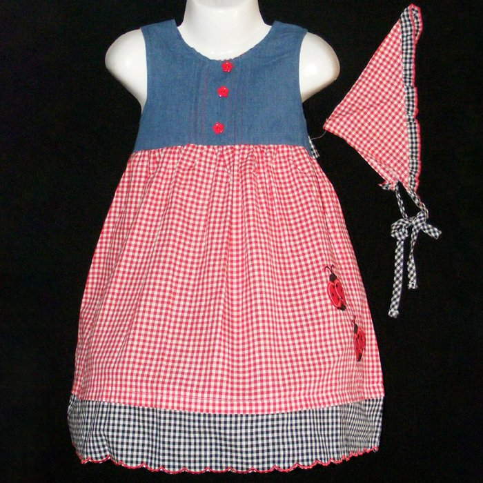 DAKOTA BLUES DENIM & MULTI-COLOR LADYBUG EMBROIDERED DRESS WITH BANDANNA GIRLS 4 - FREE SHIPPING
