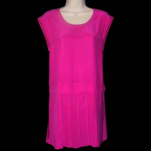 AIKO PRUIT DROP WAIST MAGENTA SILK RUFFLE SLEEVELESS PARTIALLY LINED DRESS 4 - FREE SHIPPING