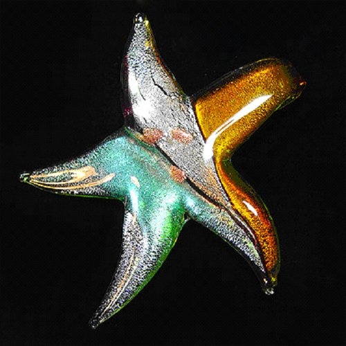 18 INCH MULTICOLOR STAR SHAPED MURANO GLASS PENDANT NECKLACE WITH BLACK STRAP - FREE SHIPPING