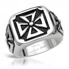 GENTLEMEN'S CROSS RING CRAFTED IN STAINLESS STEEL AND BLACK ENAMEL US-11 - FREE SHIPPING