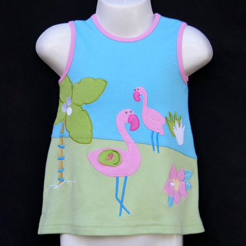 LIL' JELLYBEAN BLUE AND GREEN SLEEVELESS FLAMINGO DRESS AND BLOOMERS 6-9 MONTHS - FREE SHIPPING