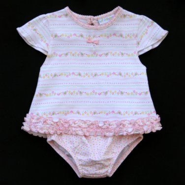 LIL' JELLYBEAN BIRDS AND FLOWERS MOTIF SHIRT AND BLOOMERS WITH BIB SET 12 MONTHS - FREE SHIPPING