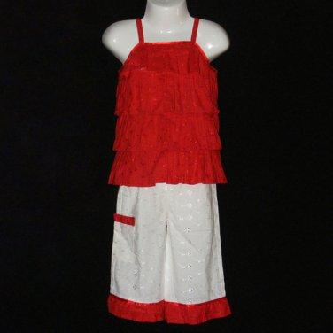 BONU GIRL RED AND WHITE TIERED TOP RUFFLED BOTTOM EYELET PANT SET 18 MONTHS - FREE SHIPPING