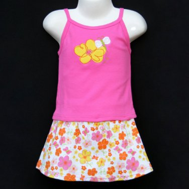 LIL' JELLYBEAN PINK STRETCH COTTON FLORAL MOTIF TANK TOP AND SKIRT SET 18 MONTHS - FREE SHIPPING