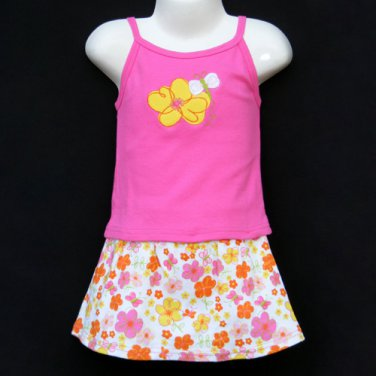 LIL' JELLYBEAN PINK STRETCH COTTON FLORAL MOTIF TANK TOP AND SKIRT SET 24 MONTHS - FREE SHIPPING