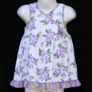 JB KIDS LAVENDER AND WHITE PLAID TRIM FLORAL SLEEVELESS COTTON RUFFLED DRESS 2T - FREE SHIPPING