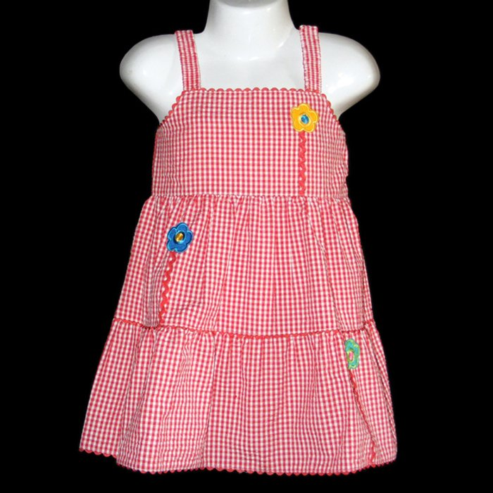 LIL� JELLYBEAN RED AND WHITE GINGHAM TIERED FLOWER DRESS WITH RIC RAC TRIMS 2T - FREE SHIPPING