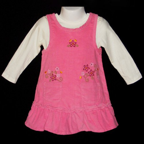 SWEET PINK RUFFLED HEM EMBROIDERED CORDUROY DRESS AND LONG SLEEVE BODYSUIT SET 3T - FREE SHIPPING