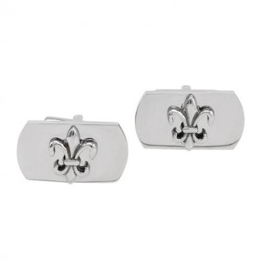 GENTLEMEN�S METALLIC COLOR POLISHED STAINLESS STEEL FLEUR-DE-LYS CUFF LINKS - FREE SHIPPING