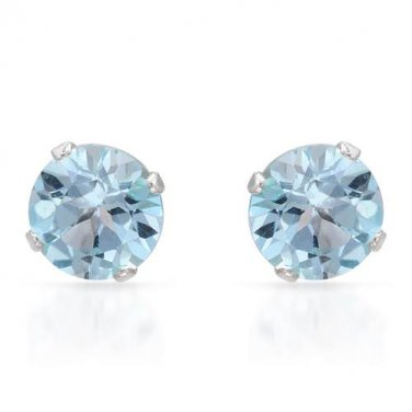 STERLING SILVER 925 QUALITY ROUND SHAPED STUD EARRINGS WITH GENUINE 2.20 CTW TOPAZES - FREE SHIPPING