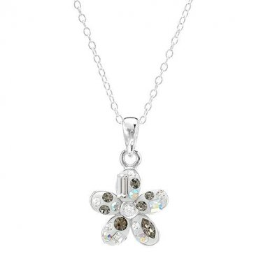 STERLING SILVER 925 QUALITY 18 INCH FLOWER SHAPED PENDANT NECKLACE WITH CRYSTALS - FREE SHIPPING