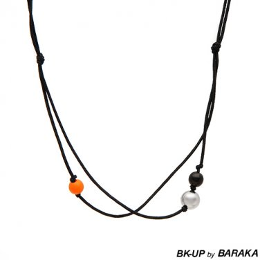 BK-UP BY BARAKA POLISHED STAINLESS STEEL, FABRIC, PLASTIC AND RUBBER NECKLACE - FREE SHIPPING