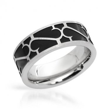GENTLEMEN�S BAND RING CRAFTED IN METALLIC STAINLESS STEEL AND BLACK ENAMEL US-12 - FREE SHIPPING