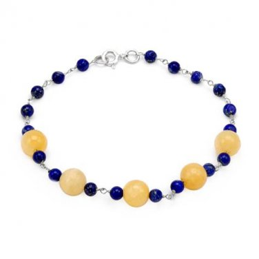 8 INCH BRACELET WITH GENUINE JADES AND LAPIS LAZULIS IN 925 QUALITY STERLING SILVER - FREE SHIPPING