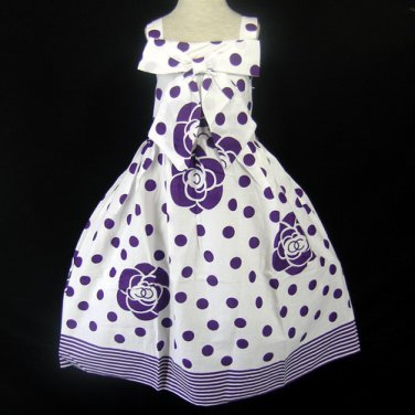 SAINT TORTRESS WHITE AND PURPLE POLKA-DOT FLOWER STRIPE PRINT DRESS GIRLS 6-7 - FREE SHIPPING