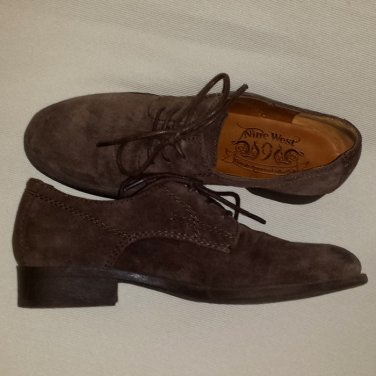NINE WEST VINTAGE AMERICA JAYSON DARK BROWN OXFORD SUEDE SHOES FOR WOMEN 5M - FREE SHIPPING