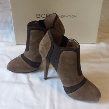 BCBGeneration LADDIES DARK SPICE/ONYX/KIDSUEDE/GORE HIGH HEEL ANKLE BOOTIES 5.5M - FREE SHIPPING