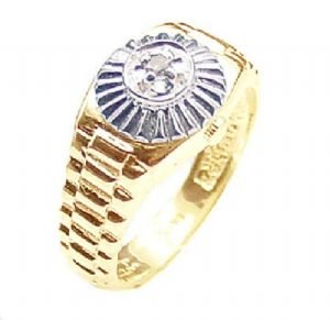 Mens Diamond Ring Rolex Style 14k Gold