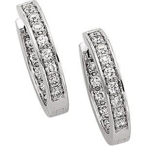 14k White Gold Hinged Earrings W/diamonds