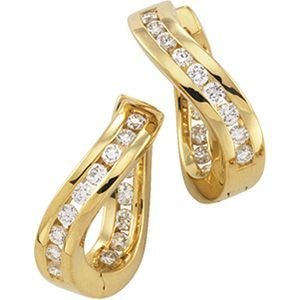 14k Yellow Gold Hinged Earrings W/diamonds