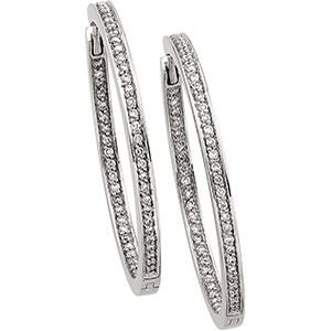 14k White Gold Hinged Earrings W/diamond