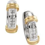 14k Two Tone Gold Diamond Hinged Earrings
