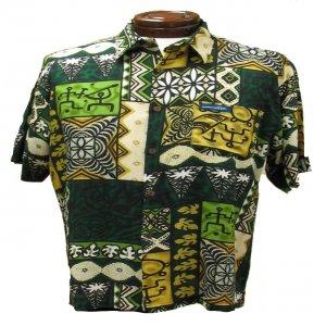 Green Tribal Tapa Print Hawaiian Aloha Shirt