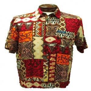 Red Tribal Tapa Hawaiian Aloha Shirt