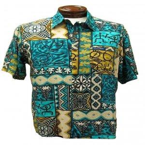 Turqoise and Gold Tribal Tapa Print Hawaiian Aloha Shirt