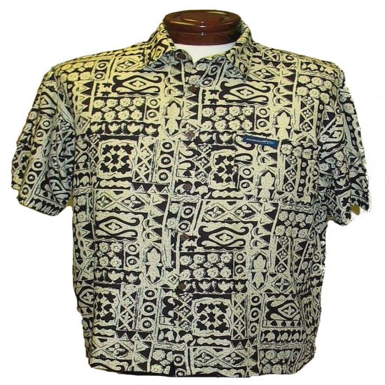 Tan and Black Tapa Print Hawaiian Aloha Shirt