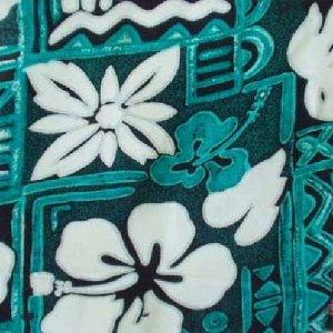 Green Tapa and Floral Print Hawaiian Aloha Shirt