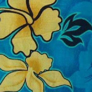 Blue and Yellow Floral Print Hawaiian Aloha Shirt
