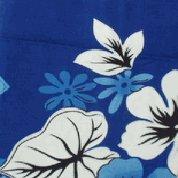 Blue and White Floral and Leaf Print Hawaiian Aloha Shirt