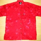 Mango Moon Red Floral Print Aloha Shirt