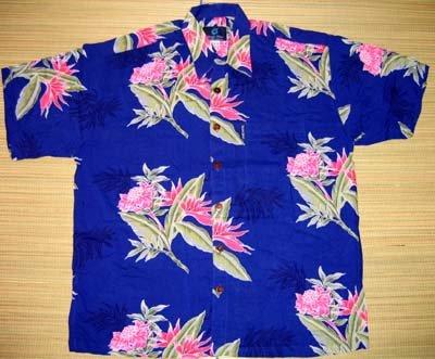 Mango Moon Blue Orchid Print Aloha Shirt