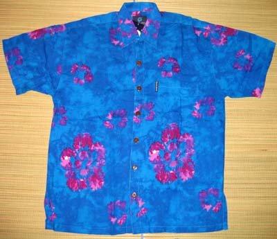 Mango Moon Blue + Pink Floral Print Aloha Shirt