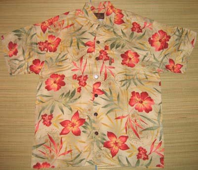 Mango Moon Tan Floral and Leaf Print Aloha Shirt