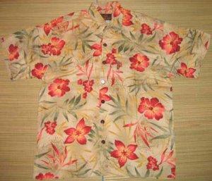 Mango Moon Tan Floral and Leaf Print Aloha Shirt