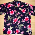 Mango Moon Blue Floral and Leaf Print Aloha Shirt