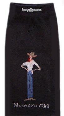 Western Girl By The Girls Black Knee High Socks