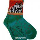 Laurel Burch Polka Dot Cat Turquoise Socks