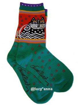 Laurel Burch Polka Dot Cat Turquoise Socks