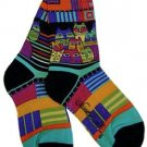 Laurel Burch Feline Friends Blue Socks