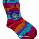 Laurel Burch Wavy Stripe Cat Socks