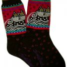 Laurel Burch Polka Dot Cat Black Socks