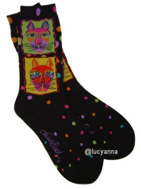 Laurel Burch Gatos Socks Black