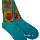 Laurel Burch Gats Socks Turquoise
