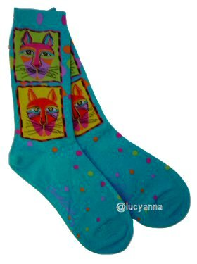 Laurel Burch Gats Socks Turquoise
