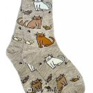 K.Bell Cat and Mouse Gray Socks