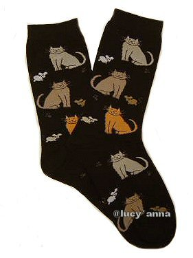 K.Bell Cat and Mouse Black Socks